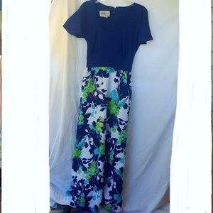 Vintage Tori Richards Blue Floral Maxi Dress